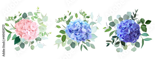 Obraz na plátne Blue, purple, blush pink hydrangea flowers, emerald greenery and eucalyptus wedd
