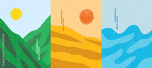 Vector illustration. Wood surface texture. Mountain peak, desert hills, sea waves. Line pattern. Background asian style. Design for poster, cover, web template, brochure, postcard, flyer, wall decor