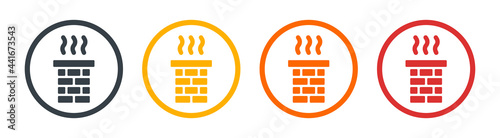 Fotografering Chimney smoke icon for chimney sweep concept. Vector illustration