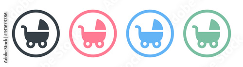 Photo Pram, stroller, baby carriage, cradle, pushchair or buggy icons set