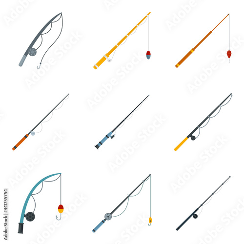 Obraz na plátně Fishing rod icons set flat vector isolated