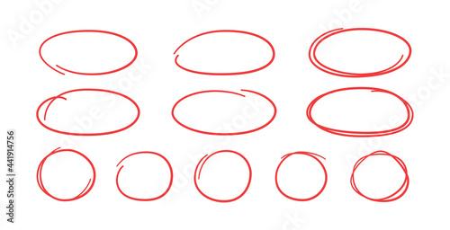 Slika na platnu Set of hand drawn red circles and ovals