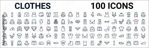 Fototapeta outline set of clothes line icons