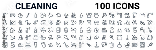 Fotografia outline set of cleaning line icons