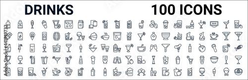 outline set of drinks line icons Fototapet