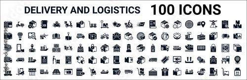 Fotografia set of 100 glyph delivery and logistics web icons