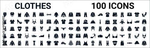 set of 100 glyph clothes web icons Fototapet