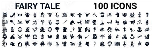 set of 100 glyph fairy tale web icons. filled icons such as cinderella shoe,drawbridge,centaur,cinderella carriage,ogre,zombie,hero,elf. vector illustration
