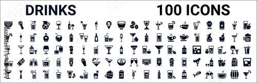 set of 100 glyph drinks web icons Fototapet