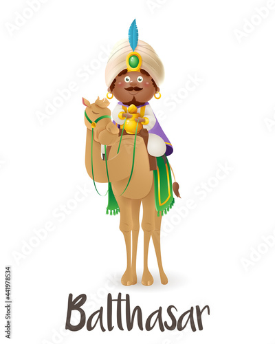 Wise man Balthasar on camel celebrate Epiphany - vector illustration isolated on Fototapeta