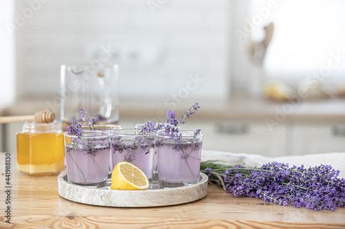 Fotografie, Tablou Preparation of fresh lavender lemonade