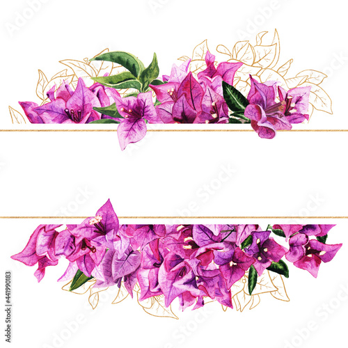 Fotomural Frame with watercolor and golden bougainvillea flowers