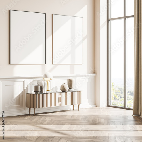 Fotografia Living room interior with two posters, panoramic window