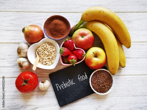 Stampa su Tela Assortment of foods high in prebiotics for healthy gut and digestive system
