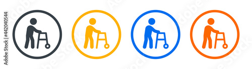 Canvastavla Walker for disabled person icon vector illustration.