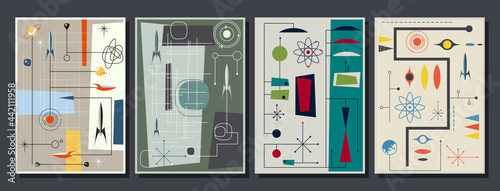 Slika na platnu 1950s Abstract style Space Posters, Space Rockets, Planets, Stars Atomic Age Des