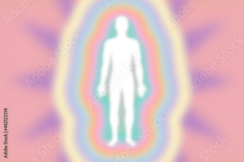 Retro feel peachy pink rainbow aura layers, energy field with human figure  - gr Fototapeta
