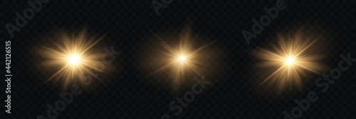 Obraz na plátne Yellow glowing light explodes on a transparent background