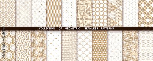 Photo Geometric set of seamless gold and white patterns