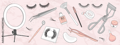 Fotografiet Set of hand drawn eyelash extension tools isolated on background