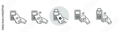Fotografia NFC wireless pay technology linear icon set