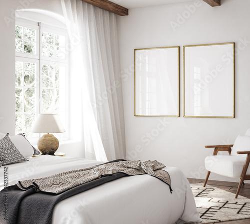 Mockup frame in luxury Hampton style bedroom interior, 3d render