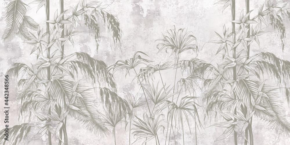 Fototapeta Graficzne egzotyczne liście