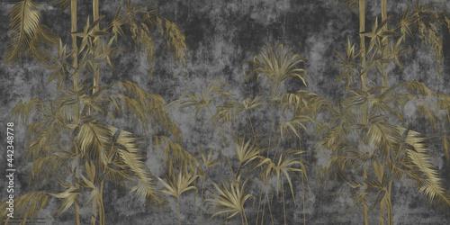 Fototapeta ciemny beton i liście retro