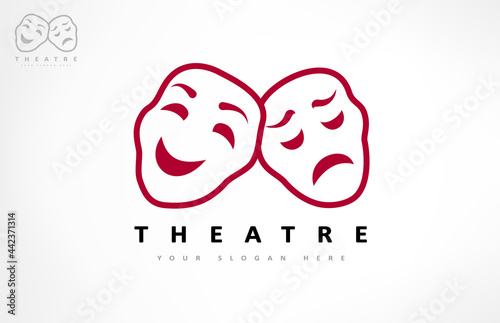 Photo Theater masks logo vector. Theater and acting design.