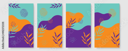 Universal trendy organic floral flower leaf boho art abstract birthday thanksgiving templates. Good for poster, card, invitation, flyer, cover, banner, placard, brochure and other graphic design.