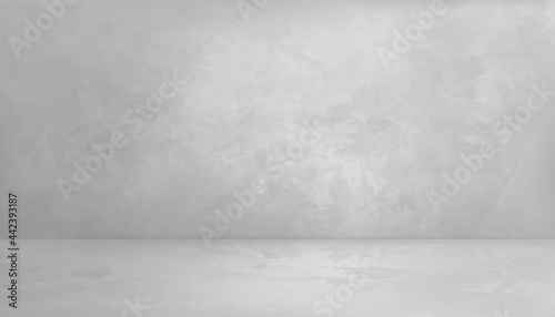 Empty room with a gray wall mockup, Background Grey Cement texture of floor, Vector 3D Backdrop of Gray Concrete surface with cracked texture pattern. Banner for loft design concept