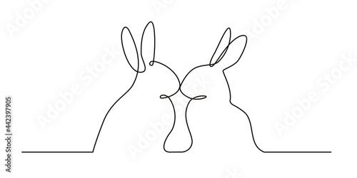 Fotografie, Tablou Continuous line art of a romantic rabbits