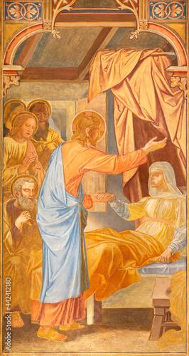 Obraz na plátne VIENNA, AUSTIRA - JUNI 24, 2021: The fresco of The Raising of Jairus' Daughter in the Votivkirche church by brothers Carl and Franz Jobst (sc