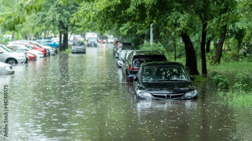 Fotografia, Obraz Flooded cars on the street of the city