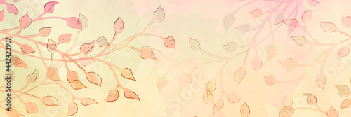 Photo abstract watercolor leaves and vines, plant branches in pastel pink orange peach