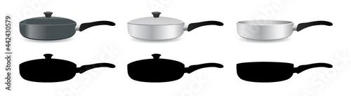 Photo realistic fry pan vector set