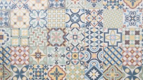 Obraz na plátně old tile mosaic home colorful decorative art wall tiles pattern in oriental styl
