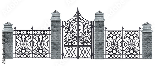 Foto Iron wrought gate vector illustration, metal antique fence, brick stone pillars isolated on white