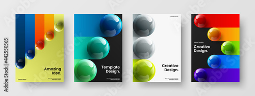 Photo Isolated 3D orbs poster template bundle