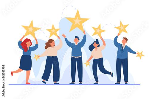 Fotografiet Business team holding stars in hands flat vector illustration