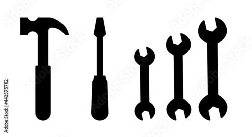 Fotografie, Obraz Wrench hammer screwdriver tools vector icons