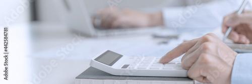 Slika na platnu Accountant or banker making calculations Bookkeeper Clerk, Bank Advisor And Auditor