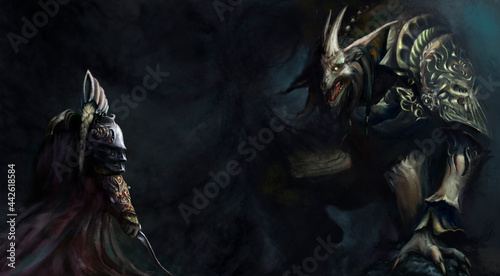 Fotografie, Obraz The huge rat king prepares to attack the knight with the dark magic of the abyss