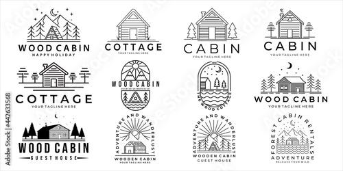 set of cabin or cottage logo vector illustration template icon design Fototapeta