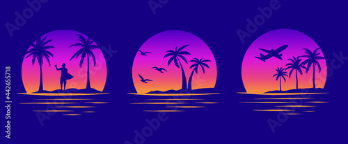 Obraz na płótnie Beaches, palms and surfing