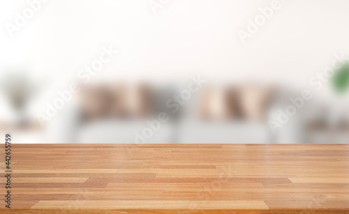Fotografie, Obraz Empty of wood table top on blur of white clean  abstract and blur interior background with bokeh