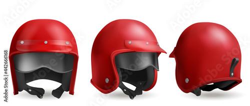 Photo Red motorcycle helmet with glasses, retro biker headwear, vintage accessory