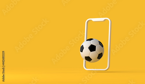 Photo Smartphone with football soccer ball