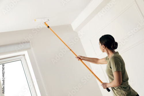 Fényképezés Young woman painting ceiling with white dye indoors, space for text