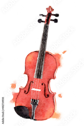 Wallpaper Mural watercolor violin hand drawn style art illustration